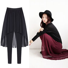 New Womens Chiffon Skirt Cotton Leggings Tights Pants Free Size 2 Colors