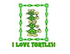Custom Made T Shirt I Love Turtles Whimsical Upside Down Stack Choice Color