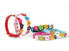 New Pink Red Blue Flower Stud PU Leather Small Pet Dog Cat Collar Puppy Collar