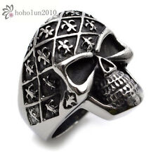 Stainless Steel Cool Silver And Black Skull Mens Ring Size 8 9 10 11 12