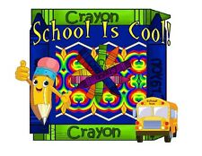 Custom Made T Shirt School Is Cool Whimsical Pencil Bus Crayons Education