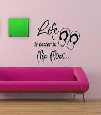 Life Is Better In Flip Flops Wall Lettering Decal Art