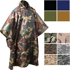 Camouflage Rip-Stop Military Poncho Tactical Waterproof Hooded Poncho