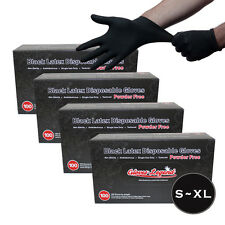 400 Black Latex Disposable Tattoos Piercing Industrial Gloves - Powder Free
