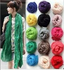 Women Long Big Crinkle Voile Soft Scarf Wrap Shawl Stole Pure Candy 24 Color #23