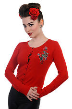 ANCHOR ROSE SAILOR NAUTICAL BANNED APPAREL CARDIGAN 8-14 ROCKABILLY Red Black