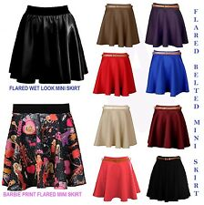 NEW SEXY HIGH WAIST  LADIES WOMEN FAUX LEATHER WET LOOK SKATER MINI FLARED SKIRT