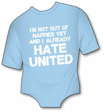 I hate United Funny Man City Babygrow - MCFC Manchester Baby Grow - All Sizes