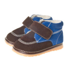 Boys Toddler - Leather Squeaky Shoes Boots - Blue & Brown with Fleece Inner