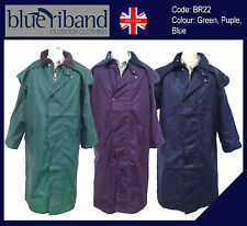 NEW MENS LADIES STOCKMAN JACKET COAT CAPES 100% WAXED OILED COTTON BLUE RIBAND