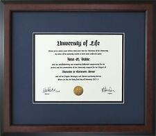 Walnut Wood Frame with Blue and black mats for Diploma Certificate Document