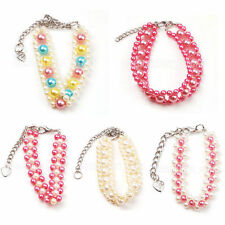 5 Style small Dog Cat Pet Pearls 3 Row Necklace Handmade Party Jewelry S M L