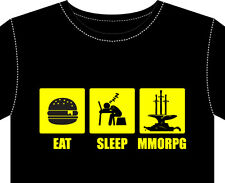 New T Shirt, mens eat sleep MMORPG computer online games avatar warlord keyboard