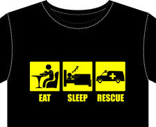 T Shirt Mens New RESCUE fun gift Paramedic fireman ambulance first aid doctor