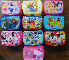 Lunchboxes-AngryBirds, Moshi, The Pooh, Mickey, Hello Kitty, Disney Princess