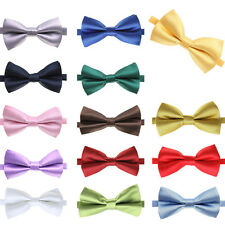 New Mens Pre Tied  Solid Color Wedding Party Plain Necktie Bow ties Adjustable