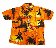 LOUD HAWAIIAN BOYS SHIRT BRIGHT ORANGE WITH PALM TREES AND SUNSETS, HOLIDAY, New