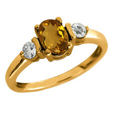 0.98 Ct Oval Champagne Quartz and Topaz Gold Plated 925 Silver Ring