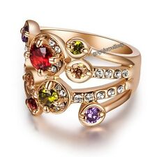 Free shipping fashion gift elegant 18k rose gold plated colorful stone ring R405