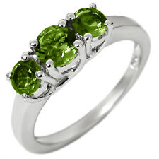 1.00 Ct 3-Stone 925 Sterling Silver Green Peridot Ring