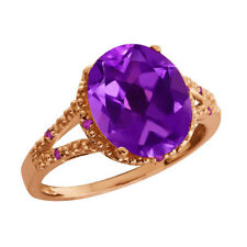 3.35 Ct Oval Amethyst Gemstone Gold Plated 925 Silver Ring