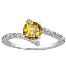 1.14 Ct Round Champagne Quartz 925 Sterling Silver Ring