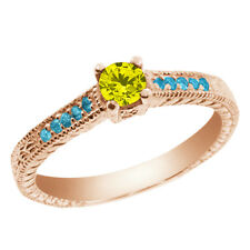 0.33 Ct Canary Diamond and Blue Simulated Topaz 925 Rose Gold Plated Silver Ring