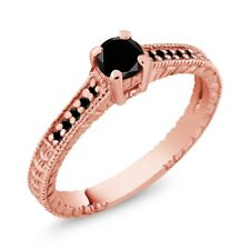 0.34 Ct Round Black AAA Diamond 925 Rose Gold Plated Silver Engagement Ring