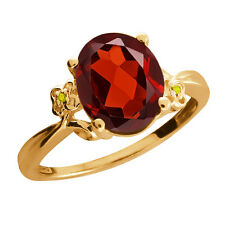 2.86 Ct Oval Garnet Diamond Gold Plated 925 Silver Ring
