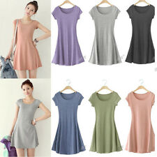 NEW Women Pure Cotton Casual Sundress Tank Mini Dress Tops Blouse T SHIRT M-XXXL