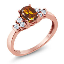 0.64 Ct Orange Red Madeira Citrine White Topaz 925 Rose Gold Plated Silver Ring