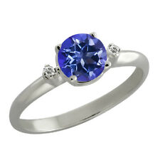1.02 Ct Round Tanzanite Blue Mystic Topaz White Sapphire Sterling Silver Ring