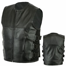New Mens Motorcycle Motorbike genuine Leather Biker riding vest waist coat S-6XL
