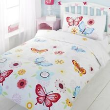 Girls Toddler Single Double Bedding Duvet Curtains - Butterfly Themed Bedroom