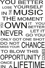Eminem lose yourself music artist wall art lyrics quote for Eminem wall mural