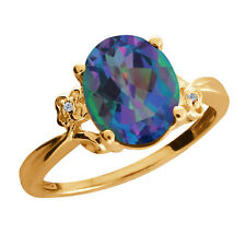 2.51 Ct Oval Millenium Mystic Quartz and Diamond Gold Plated 925 Silver Ring