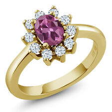 1.25 Ct Oval Pink Tourmaline White Topaz Gold Plated 925 Silver Ring