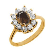 1.15 Ct Oval Brown Smoky Quartz Topaz Gold Plated 925 Silver Ring