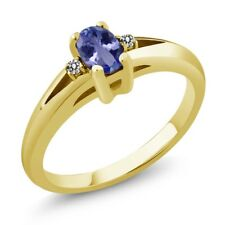 0.49 Ct Blue Oval Tanzanite and Diamond Yellow Gold Plated Silver Ring