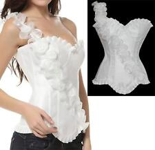 Sexy Cocktai Floral Strap Underwire Outerwear Corset Top Thong White S - 2XL