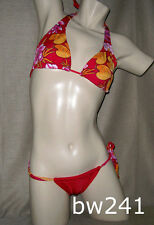 Sexy RED & ORANGE STAMPED Brazilian Bikini Swimsuit Swimwear NWT XS,Small,Medium
