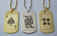 Gold or Silver Tone Poker Playing Card Metal Tag - Free Engraving