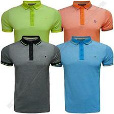 Mens Polo Shirt Dissident Pique t-shirt with Logo Short Sleeved Shirt MX-25290