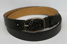 Unisex Mens Women Single Row Holes Dress Casual Leather Belt Silver Prong Buckle