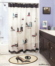 Fashionista Bath Decor IN STOCK Shower Curtain Rug Soap Pump Heels Shoes Purse