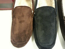 MENS ISOTONER Moccasin Slippers BLACK BROWN INDOOR/OUTDOOR SOLES ISO (#109) NEW