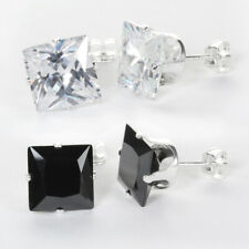 Sterling Silver Clear & Black Square Crystal Cubic Zirconia CZ Stud Earrings