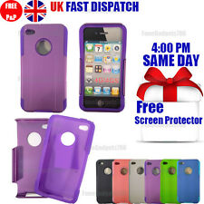 SHOCK PROOF HYBRID SILICONE CASE COVER & FREE SCREEN PROTECTOR Fits iPhone 4G 4S
