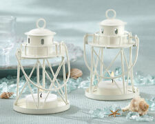 White Summer Beach Lighthouse Tea Light Lantern Candle Holder Wedding Favor