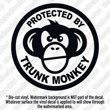 PROTECTED BY TRUNK MONKEY Vinyl Decal Sticker Button Funny Meme Chimpanzee JDM